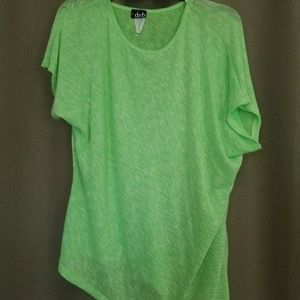 Deb 3X neon green asymmetrical sheer knit tee